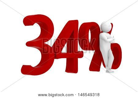 3D Human Leans Against A Red 34%