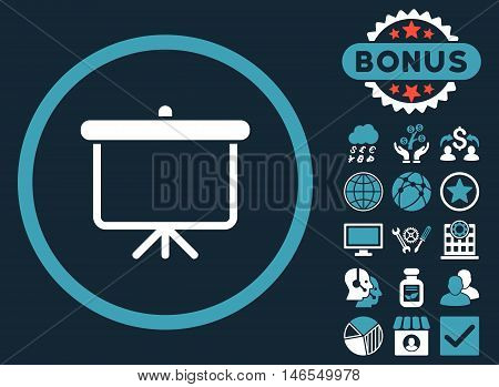 Projection Board icon with bonus. Vector illustration style is flat iconic bicolor symbols, blue and white colors, dark blue background.