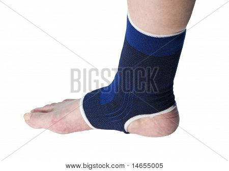 senior with ankle support