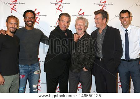 LOS ANGELES - SEP 8:  Bryton James, Kristoff St John, Eric Braeden, Mal Young, Peter Bergman, Jason Thompson at the YmR 11,000 Show Celebration at CBS  on September 8, 2016 in Los Angeles, CA