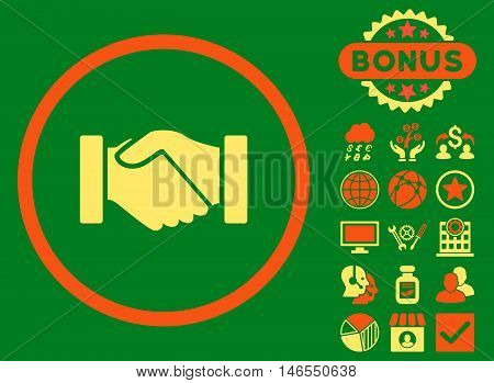 Acquisition Handshake icon with bonus. Vector illustration style is flat iconic bicolor symbols, orange and yellow colors, green background.