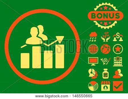 Audience Graph icon with bonus. Vector illustration style is flat iconic bicolor symbols, orange and yellow colors, green background.