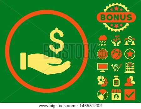 Earnings Hand icon with bonus. Vector illustration style is flat iconic bicolor symbols, orange and yellow colors, green background.