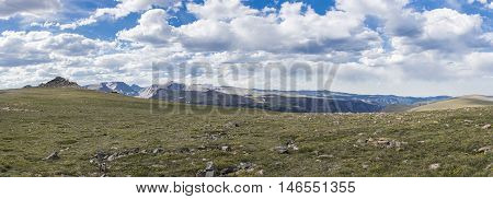 Panoramic view of a Beartooth Highway overlook, Wyoming, United States