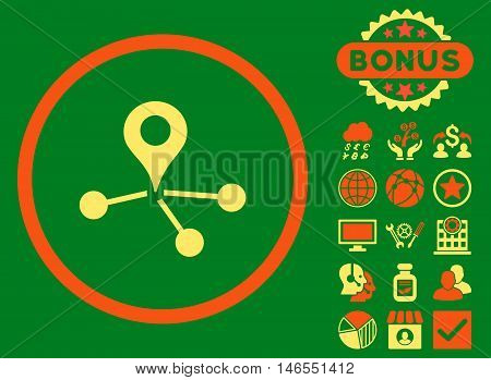 Geo Network icon with bonus. Vector illustration style is flat iconic bicolor symbols, orange and yellow colors, green background.