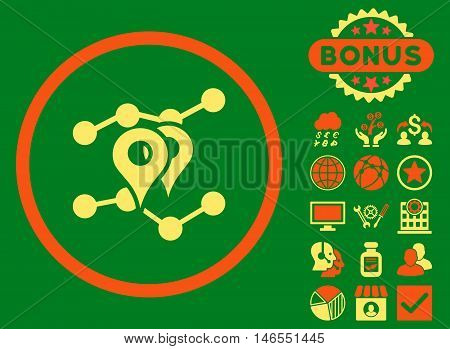 Geo Trends icon with bonus. Vector illustration style is flat iconic bicolor symbols, orange and yellow colors, green background.