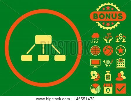 Hierarchy icon with bonus. Vector illustration style is flat iconic bicolor symbols, orange and yellow colors, green background.
