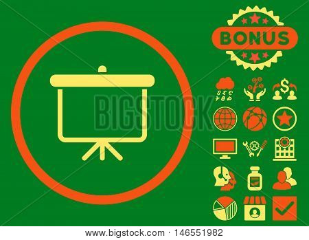 Projection Board icon with bonus. Vector illustration style is flat iconic bicolor symbols, orange and yellow colors, green background.