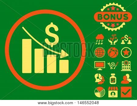 Recession Chart icon with bonus. Vector illustration style is flat iconic bicolor symbols, orange and yellow colors, green background.