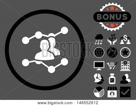 Audience Trends icon with bonus. Vector illustration style is flat iconic bicolor symbols, black and white colors, gray background.