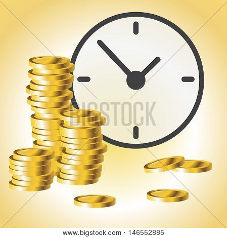 Office Clock and coin money. Time is money concept. Vector illustration.
