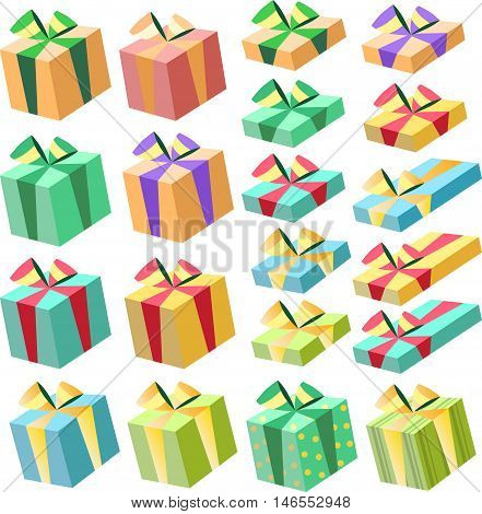 Colorful gift boxes with bows and ribbons vector set. vector illustration. Christmas, holiday, and birthday gift box set.