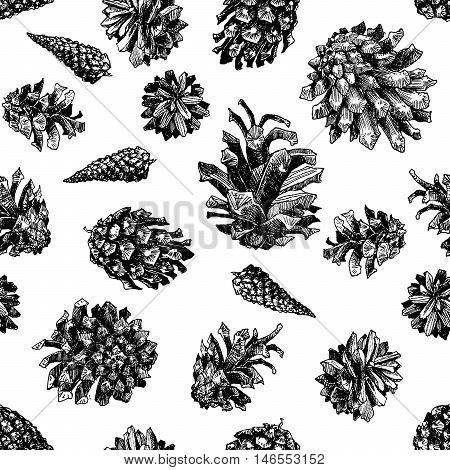 Seamless patern with christmas hand drawn graphic pine cones