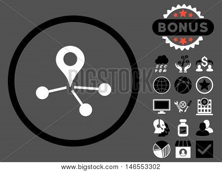 Geo Network icon with bonus. Vector illustration style is flat iconic bicolor symbols, black and white colors, gray background.