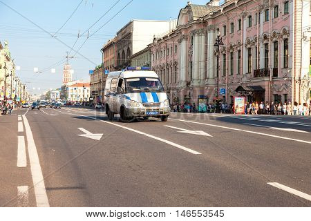 ST. PETERSBURG RUSSIA - JULY 27 2016: Nevsky Prospect in the summer sunny day. Now it is main street length of 4.5 km