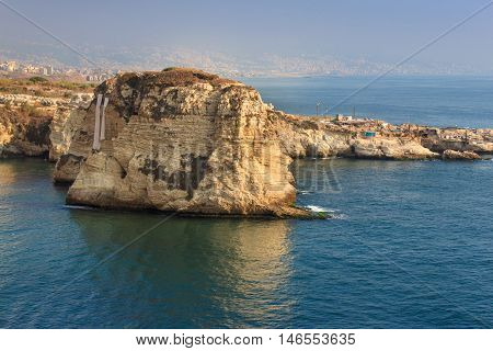 Pigeon Rocks in Raouche District, Beirut, Lebanon.