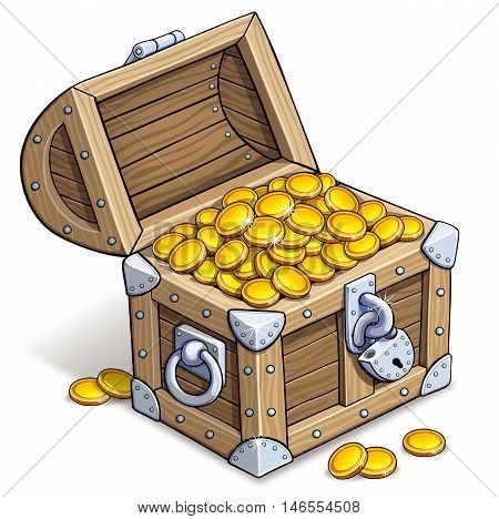 Old chest of gold coins. Vector illustration on white background.