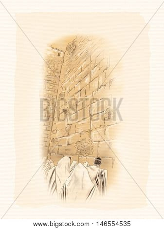 Western wall Jerusalem, prayer. David's city - old city of Jerusalem. Israel. Digital Illustration. Hand Drawn.