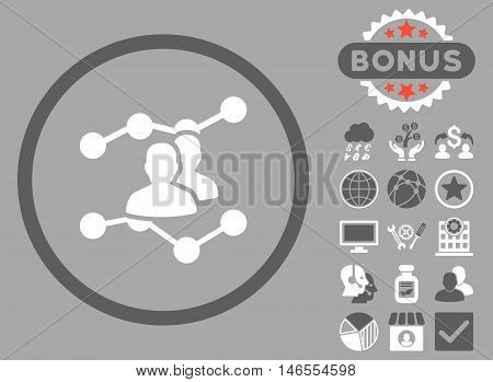 Audience Trends icon with bonus. Vector illustration style is flat iconic bicolor symbols, dark gray and white colors, silver background.