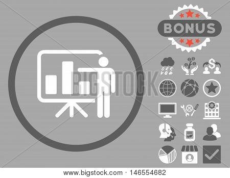 Bar Chart Presentation icon with bonus. Vector illustration style is flat iconic bicolor symbols, dark gray and white colors, silver background.