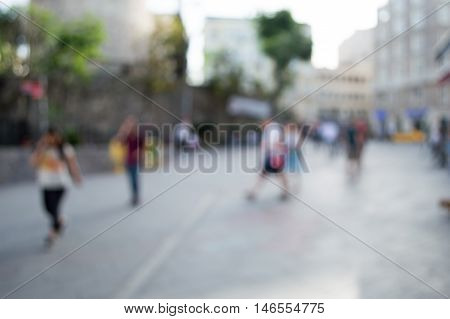 Blurred City and People in Urban Scene