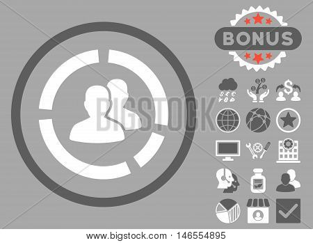 Demography Diagram icon with bonus. Vector illustration style is flat iconic bicolor symbols, dark gray and white colors, silver background.