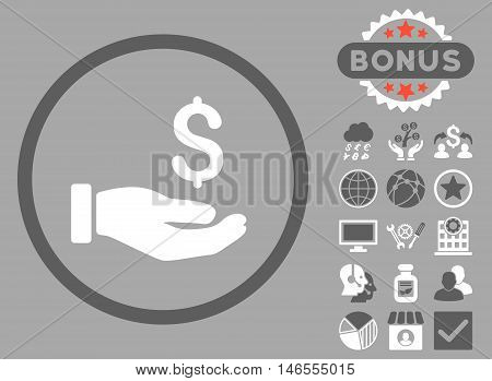 Earnings Hand icon with bonus. Vector illustration style is flat iconic bicolor symbols, dark gray and white colors, silver background.