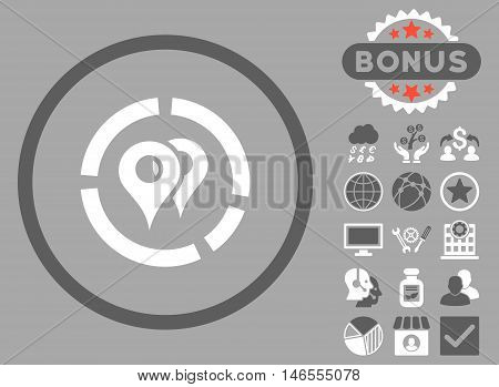 Geo Diagram icon with bonus. Vector illustration style is flat iconic bicolor symbols, dark gray and white colors, silver background.