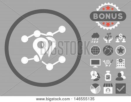 Geo Trends icon with bonus. Vector illustration style is flat iconic bicolor symbols, dark gray and white colors, silver background.