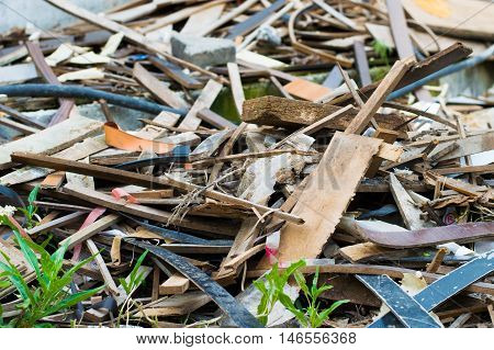 Pile of recyclable wooden and metal scrap