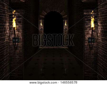Dark castle corridor with columns and torches 3d rendering.