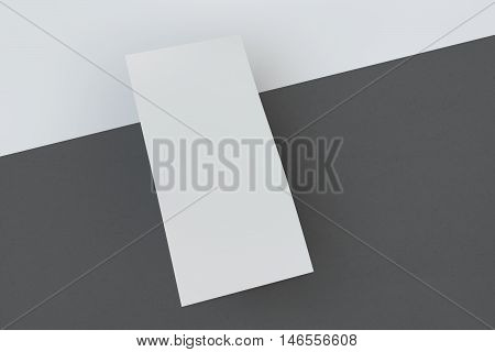 Mock up flyer and cover 210x99 mm. White paper card on white background, for your design and template. Three-dimensional rendering.