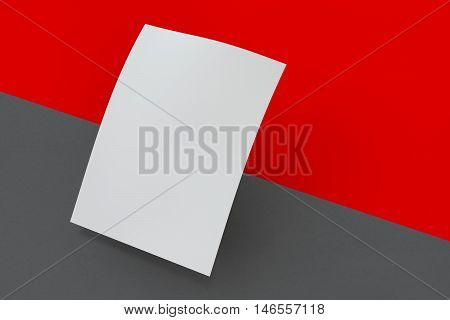 Mock up poster on dark and red background. 3D rendering poster standart format A5 / A4 / A3 / A2 / A1/ A0. Three-dimensional