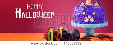 Halloween Purple Cat Cake Banner