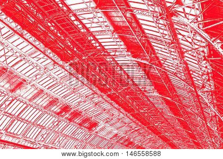 Industrial roof of public building edited in red color