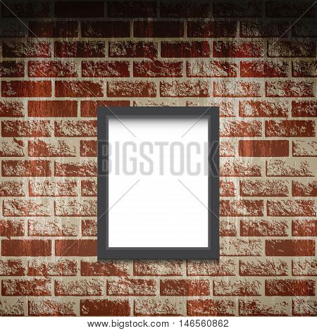 Empty frame on a brick wall. Vector brick background. Frame for a photo. Blank painting. Interior museum with frame on a brick wall. Old grunge brick wall. Urban studio illustration. Art gallery.