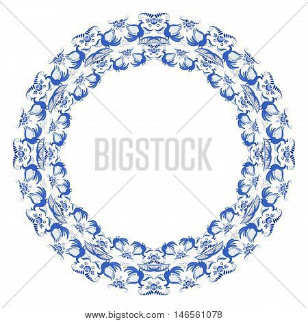 Round frame with light blue pattern of flowers and birds in gzhel style. Vector illustration.