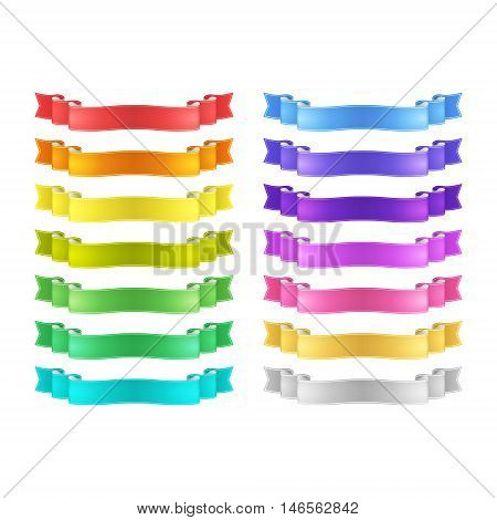 isolated vector bright colored satin ribbons set