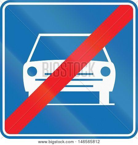 Belgian Regulatory Road Sign - End Of Main Highway