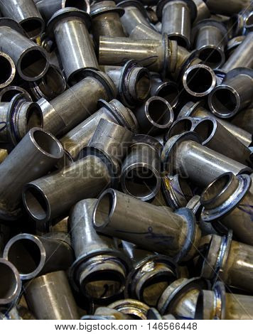 The steel products to automotive industry in a car factory.