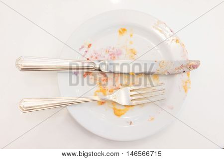Empty White Plate With Crumbs And Cream