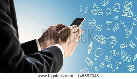 Businessman using smartphone with expense doodle images, paying bills online by smartphone concept