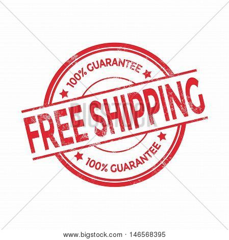 Free shipping red rubber stamp isolated. vector illustration