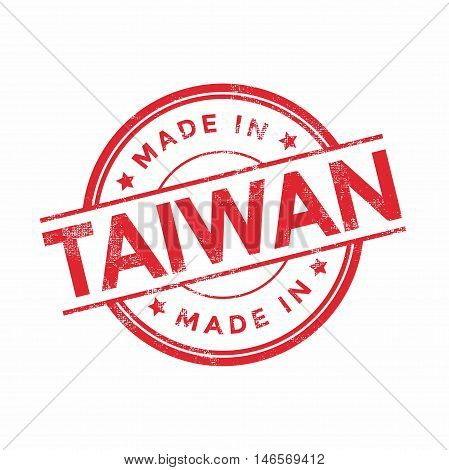 Made in Taiwan red vector graphic. Round rubber stamp isolated on white background. With vintage texture.