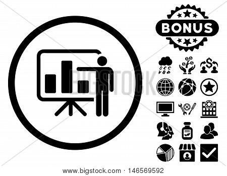 Bar Chart Presentation icon with bonus. Vector illustration style is flat iconic symbols, black color, white background.
