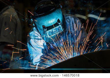 The Auto parts Industrial steel welder in factory