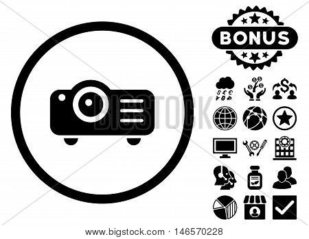 Projector icon with bonus. Vector illustration style is flat iconic symbols, black color, white background.