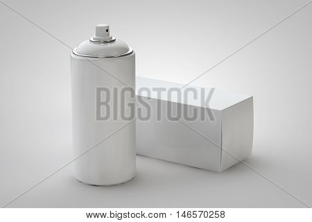 Spray can and package box on light background. 3D rendering can for your design.
