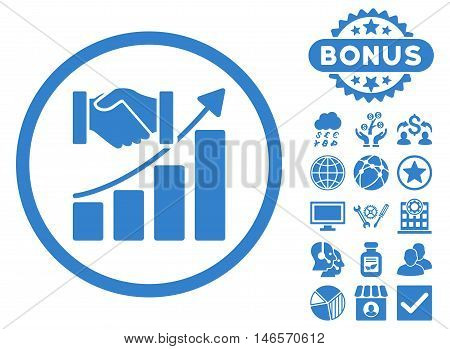 Acquisition Growth icon with bonus. Vector illustration style is flat iconic symbols, cobalt color, white background.