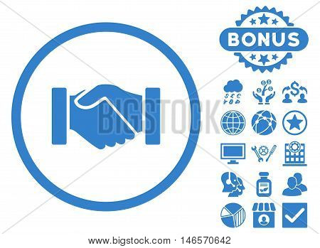 Acquisition Handshake icon with bonus. Vector illustration style is flat iconic symbols, cobalt color, white background.